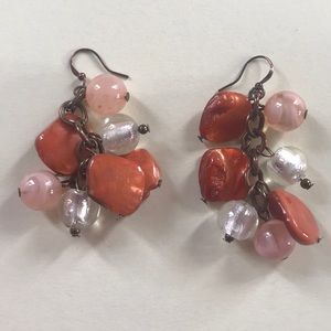 Jewelry - Pretty orange, peach, and silver earrings.